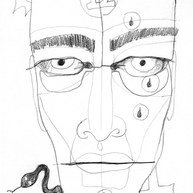 face with a 12 on the forehead, droplets, a snake, a cross, and a moon and sun