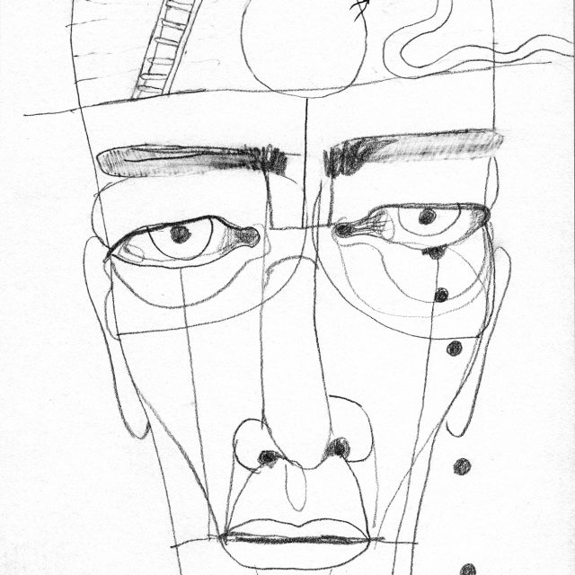 face with a ladder and an orb and a snake on the forehead, droplets falling from one eye, and a backwards 12 on the ground