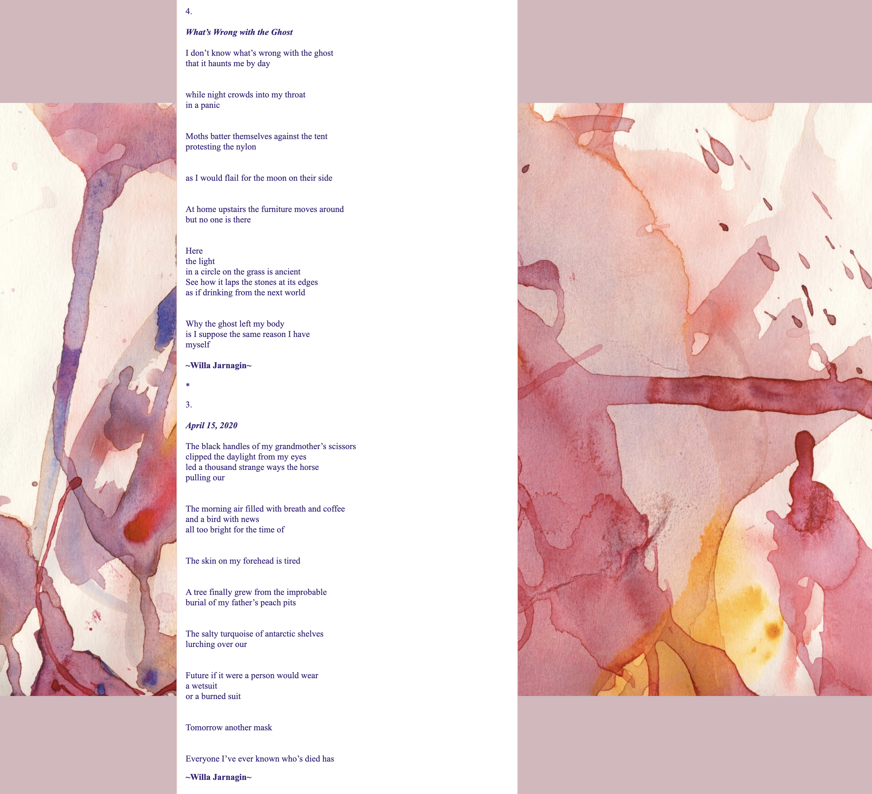 poems displayed over a watercolor painting - text below image